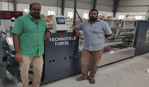 DGM Technofold 1100SL糊盒机落户印度Sivakasi Moorthy胶印公司-全自动糊箱机